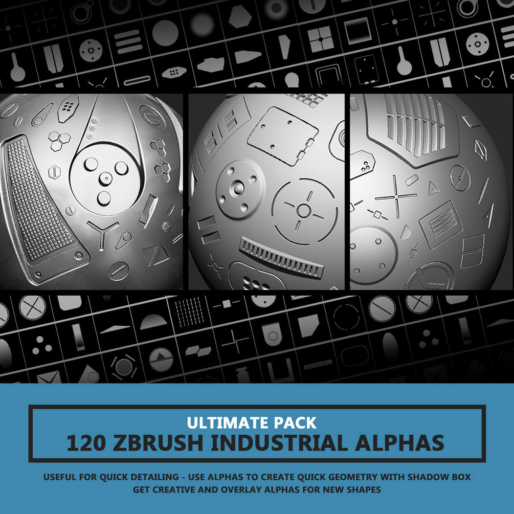 120 Industrial Zbrush Alphas By Travis Davids   ULTIMATE PACK 120 Industrial Zbrush Alphas 120 Industrial Zbrush Alphas,ULTIMATE PACK