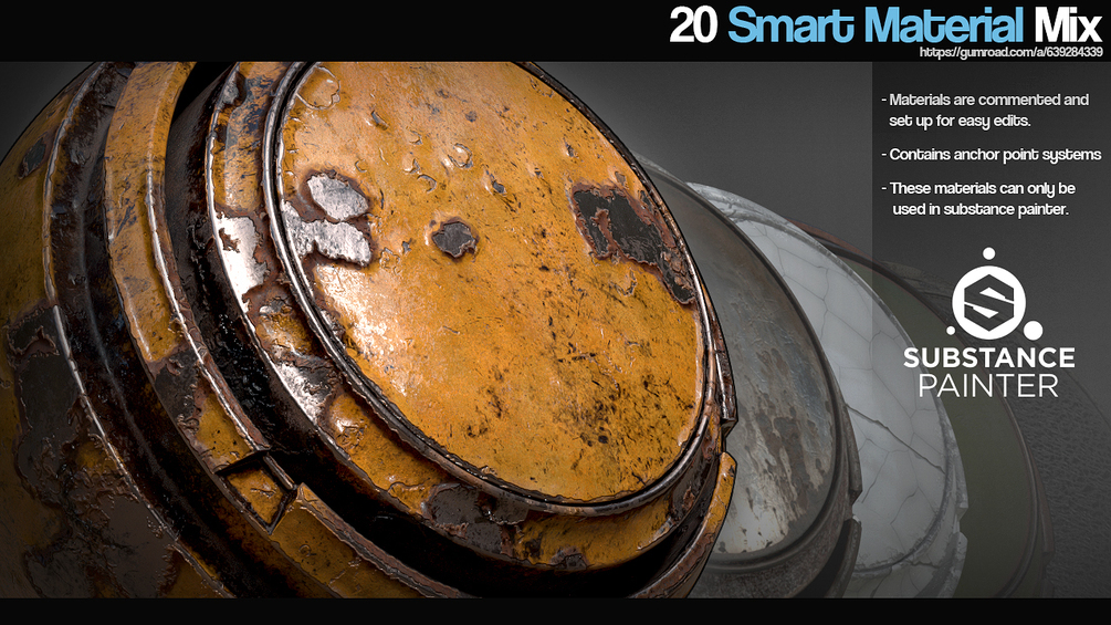 SP - 20 Smart Material Mix _ By CG AMMO(Substance Painter) 20 Smart Material Mix 20 Smart Material Mix,Substance Painter