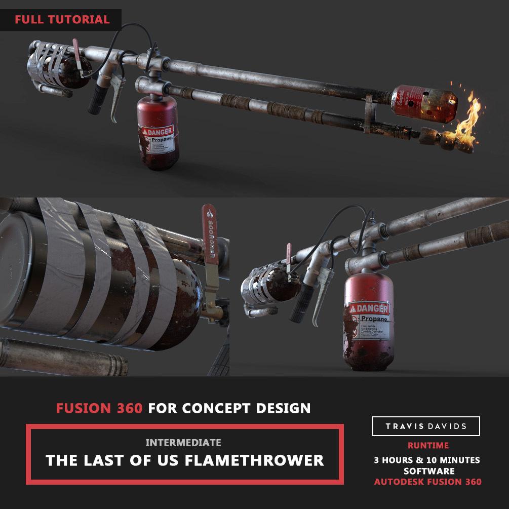 Pistol & Flamethrower Tutorials COMBO PACK_Autodesk Fusion 360 _ BY Travis Davids Autodesk Fusion 360 Autodesk Fusion 360,Flamethrower Tutorials,Travis Davids