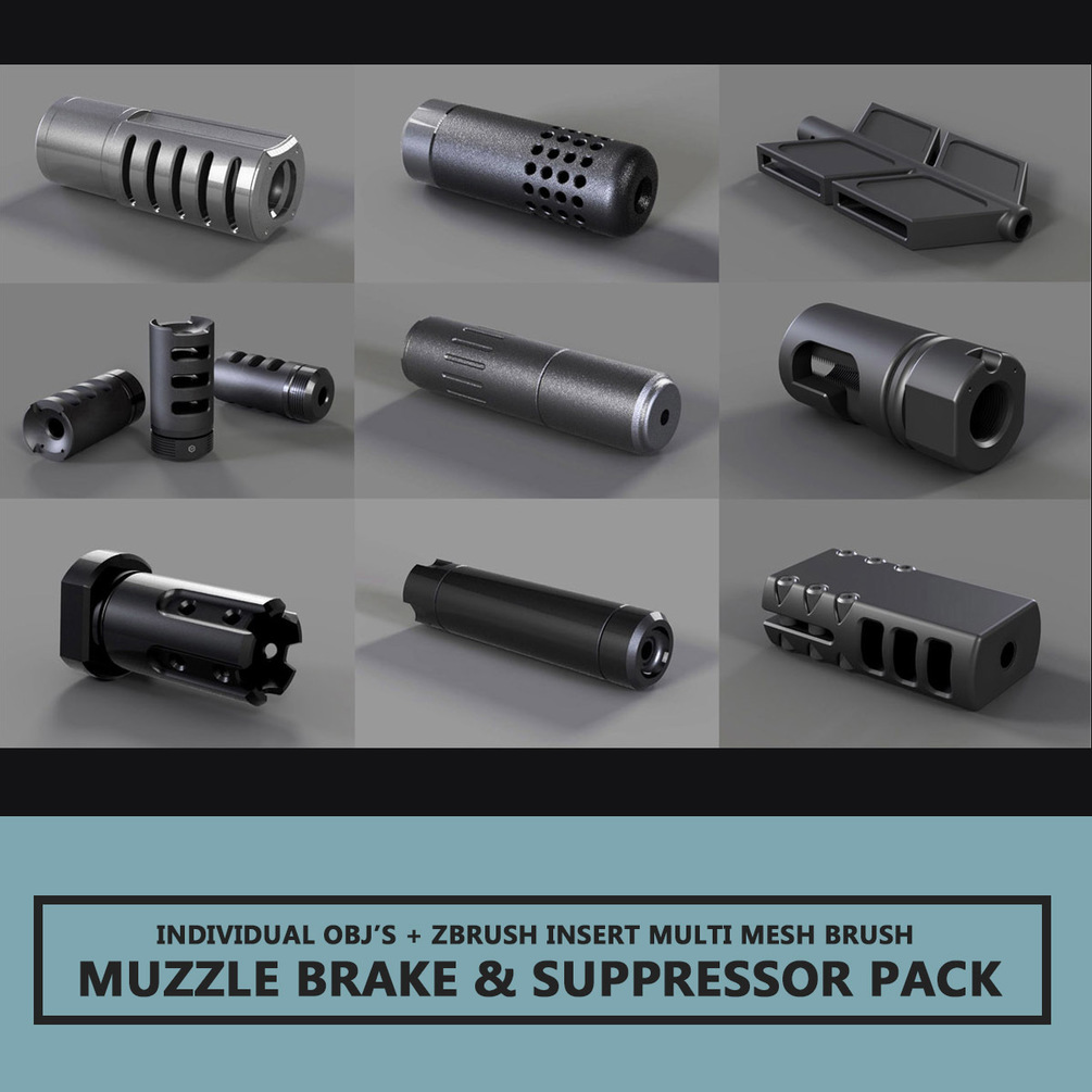 Muzzle Brakes & Suppressors PACK 1 - By Travis Davids Travis Davids Travis Davids,3D weapon designers