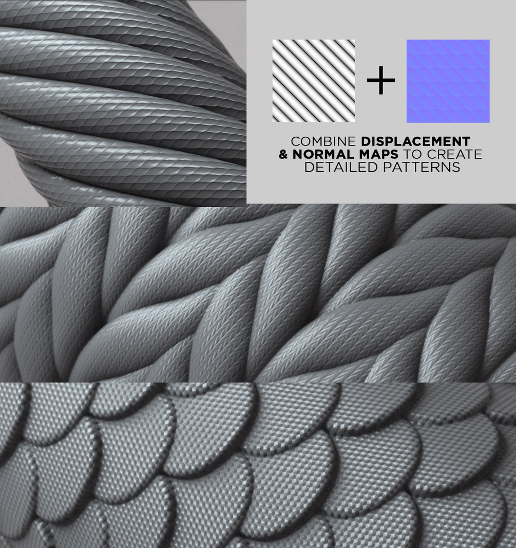 COMPLETE PACK - 100 Tileable Displacement/Alpha Patterns 100 Tileable Displacement 100 Tileable Displacement