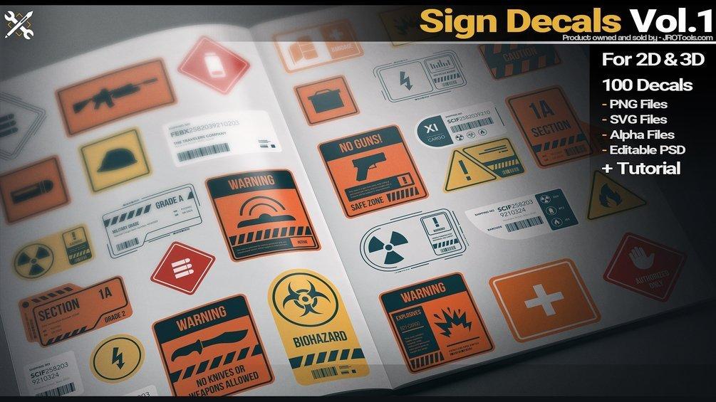 Sign Decals Vol.1 _ By JROTools JROTools JROTools,Sign Decals.,substance painter