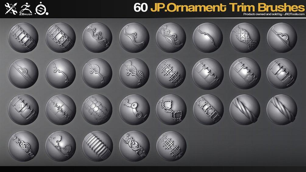 ZBrush - 60 JP.Ornament Trim Brushes_By JROTools Ornament Trim Brushes Ornament Trim Brushes,JROTools