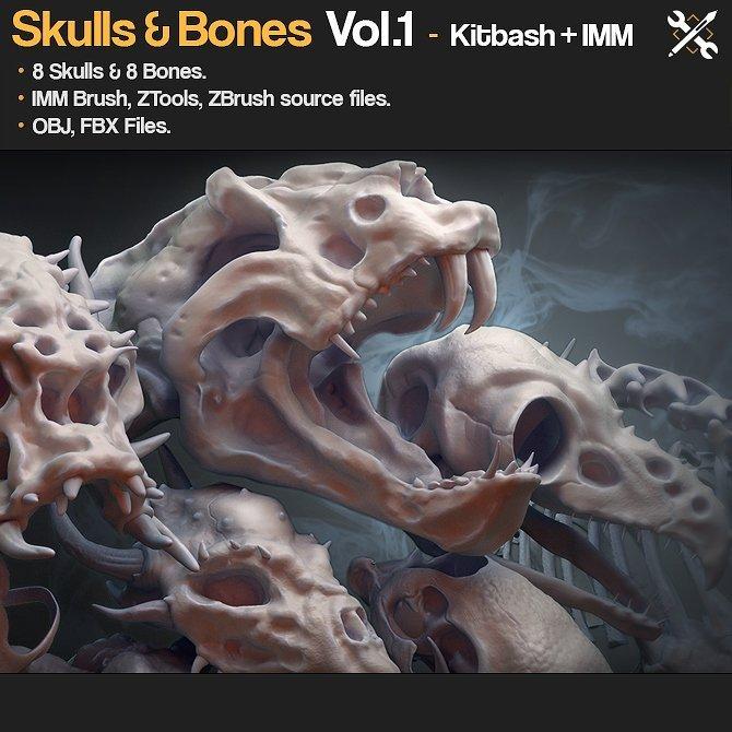 Kitbash+IMM - Skulls&Bones Vol.1 _ By JROTools Bones Bones,Skulls,Kitbash,JROTools