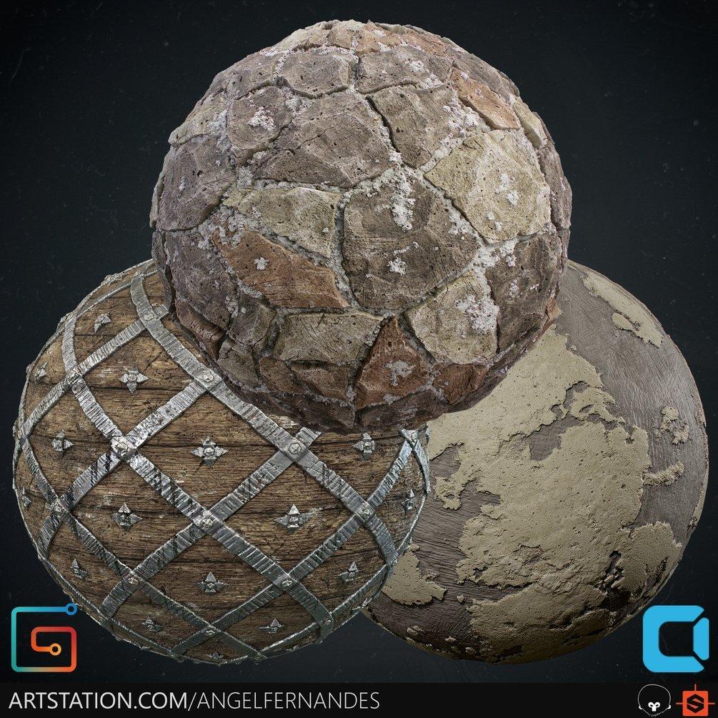 Material Pack (Bundle) 02 - WoodCage - StoneFloor - Stucco By Angel Fernandes WoodCage - StoneFloor WoodCage - StoneFloor