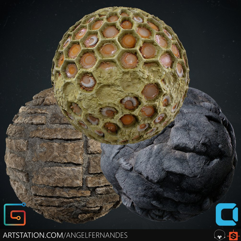 Material Pack (Bundle) 03 Cliff Honeycomb MedievalWall By Angel Fernandes Material Pack Material Pack,Bundle,Cliff Honeycomb