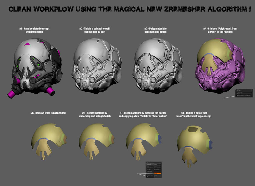 Zbrush 2019 ZRemesher workflow _ By Marco Plouffe (Keos Masons) Zbrush 2019 ZRemesher workflow Zbrush 2019 ZRemesher workflow,zremesher